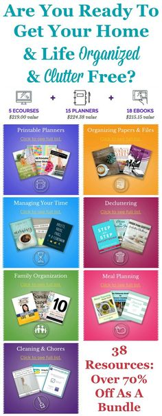 The Conquer Your Clutter Super Bundle has 38 resources for one low price. If you're serious about getting your home and life decluttered and organized, you need to check it out now.