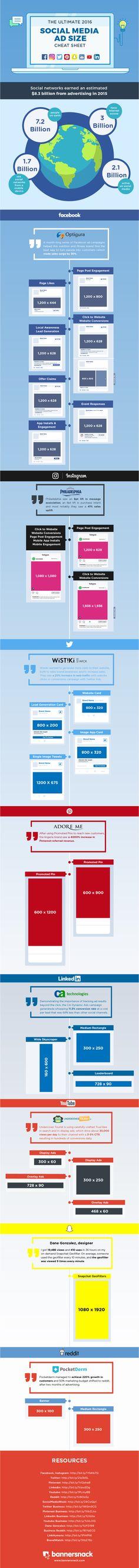 Abmessungen social media Anzeigen