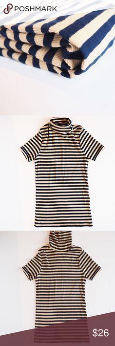 ⬇️1hr Only! Zara turtle neck tunic top Zara navy blue/tan striped turtle neck tunic. Excellent condition. Zara Tops Tunics