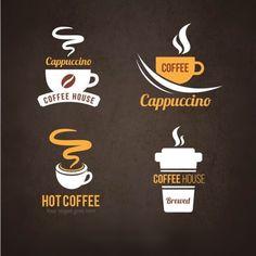 Logotipos do café Vetor grátis Free Logos, Free Logo Templates, Logo Café, Logo Psd, Design Café, Flat Design, Coffee Shop Logo, Coffee Shop Design, Coffee Store