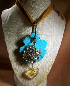 Turquoise Howlite Handcrafted Wearable Statement Art Necklace by louzart,