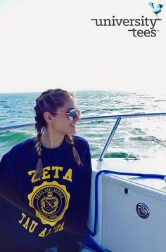 Crest crewneck sweatshirts and sunshine | Zeta Tau Alpha #UTeesSB | Made by University Tees | www.universitytees.com