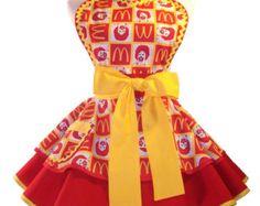 Retro Apron Ronald McDonald Pin Up Style Apron