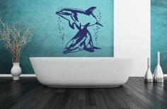 Dolphins With Bubbles Vinyl Wall Decal