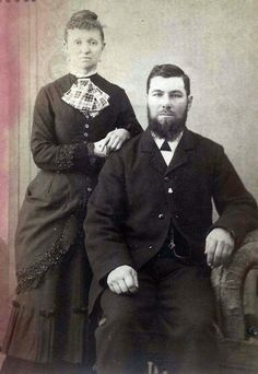 This photo was taken in 1886. The women's hairstyle was in vogue in the mid 1860's.