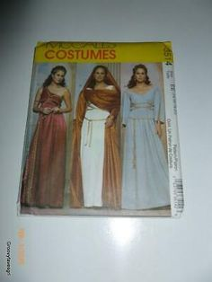 Un-Cut Sewing Pattern. Pattern is factory folded. Adult: Misses 14-20. Wear on the outside corners. The instructions look to be complete. Roman Goddess Costume, Goddess Dress, Cape Pattern, Womens Scrubs, Costume Patterns, Fantasy Costumes, Apron Dress, Japanese Outfits, Simplicity Sewing Patterns