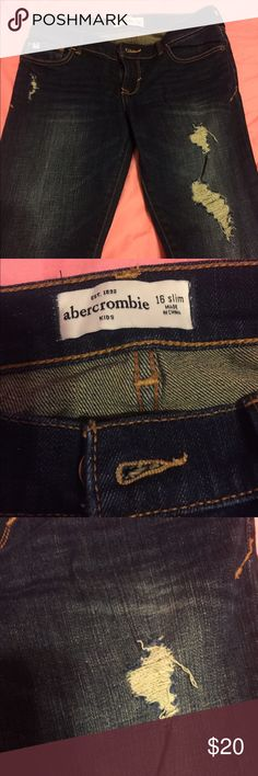 Abercrombie jeans in excellent condition Ripped Abercrombie jeans. Size 16 slim for tall and skinny abercrombie kids Bottoms Jeans