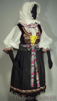 SLOVAK FOLK COSTUME rare embroidered blouse vest apron skirt bonnet KROJ Castkov