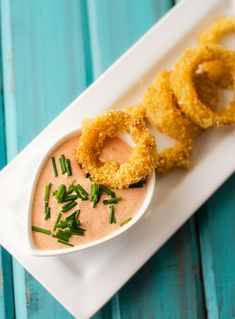 Quinoa Crusted Onion Rings with Spicy Dipping Sauce - Gluten Free with Vegan Option