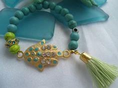 SALE GYPSY'S HAMSA Charm Bracelet  Amulet Jewelry by Nezihe1, $19.00