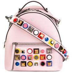 Fendi stud embellished shoulder bag ($2,690) ❤ liked on Polyvore featuring bags, handbags, shoulder bags, pale pink purse, pink shoulder bag, studded backpack purse, fendi backpack and pink purse