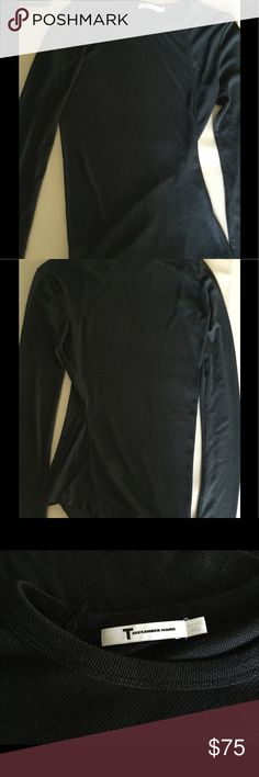 T Alexander Wang solid black long sleeve tshirt sm Solid black, geometric side angle, thin ( almost sheer) material.  Pre❤️excellent condition.  Measurements: pit to pit- 15 inches T Alexander Wang Tops Tees - Long Sleeve
