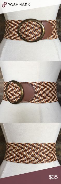27e2e4403aa512 Fossil Belt Wide Leather Braided Woven Boho Hippie Fossil wide brown tan  and white braided woven