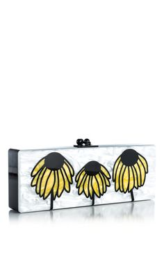 Shop White Pearlescent Multi Flavia Wilted Daisies by Edie Parker for Preorder on Moda Operandi