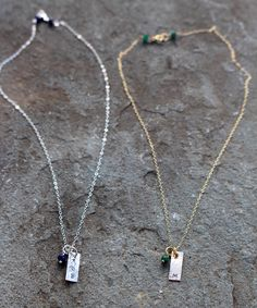 Mini Monogram Rectangle Charm Necklaces - in your choice of Sterling Silver or 14k Gold Filled with a Gemstone of your picking!
