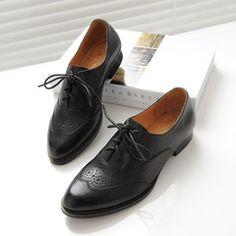 Удобные плоские полный кожаный шнурок туфли Пномпень перед британском стиле черно моделей