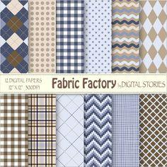 Fabric Plaid Digital Paper FABRIC FACTORY Argyle