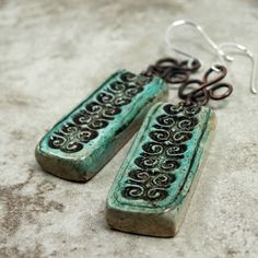 Etruscan Inspired Verdigris and Copper Polymer Clay Earrings $20