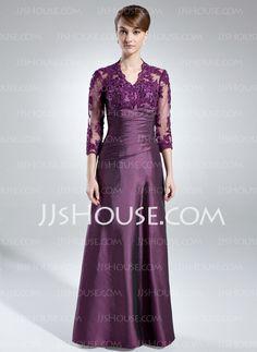 Corte A/Princesa Escote en V Hasta el suelo Tafetán Encaje Vestido de madrina con Volantes (008005866)