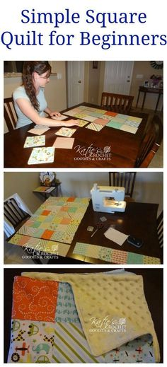 Simple square quilt for beginners #sewing http://katiescrochetgoodies.com/2015/04/simple-square-quilt-for-beginners.html