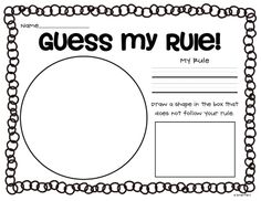 Crazy for First Grade Guess My Rule sorting activity