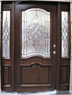 Solid Wood Cherry Double Arch Victorian Glass With Sidelights Exterior Pre-Hung Door Entry Door With Sidelights, Entry Doors With Glass, Sliding Glass Door, Exterior Entry Doors, Entrance Doors, Entrance Design, Door Design, Fowler Homes, Victorian Front Doors