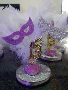Souvenire para 15 Masquerade Party Centerpieces, Butterfly Centerpieces, Masquerade Ball Party, Sweet 16 Masquerade, Mardi Gras Centerpieces, Party Table Centerpieces, Masquerade Theme, Quinceanera Centerpieces, Wedding Color Pallet