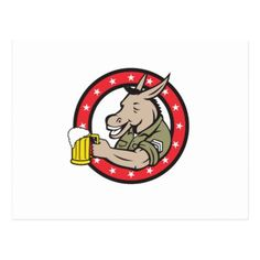 Donkey Beer Drinker Circle Retro Postcard - horse animal horses riding freedom