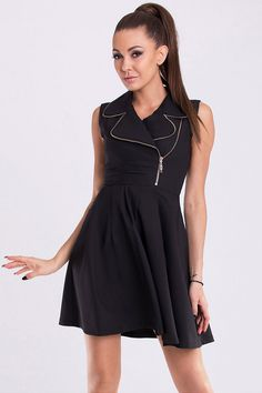 Black Large Collar Zip Dress by YNS - A Line Short Formal Dresses.