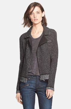 Iconic biker jacket with a knit twist