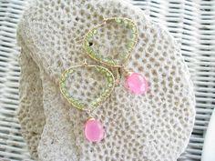 Green Peridot Earrings  Hot Pink Hoops by NuryMenesesJewelry, $39.00