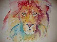 Risultati immagini per leone acquerello