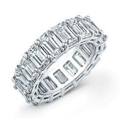 Emerald cut diamond shared prong eternity band - Wedding Bands - Fine Jewelry