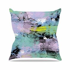 KESS InHouse VN1050AOP03 18 x 18-Inch 'Vasare Nar Watercolour Texture Lavender' Outdoor Throw Cushion - Multi-Colour * Click on the image for additional details. #GardenFurnitureandAccessories