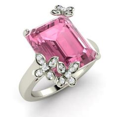 Emerald-Cut Pink Tourmaline  and Diamond  Cocktail Ring in 14k White Gold