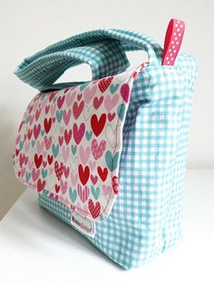Child's Messenger Bag  Funky Heart Bag  Ready by bobbinsboutique, £16.00