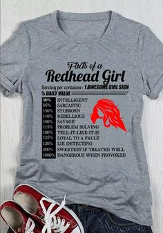Redhead Facts, Redhead Quotes, Ginger Quotes, Funny Shirts, Tee Shirts, Funny True Quotes, Funny Jokes, Redhead Shirts, Haircuts For Medium Hair