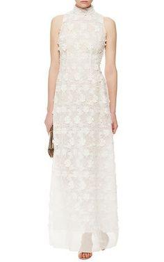 Ivory Sleeveless Lace Flower Dress by Giamba Now Available on Moda Operandi