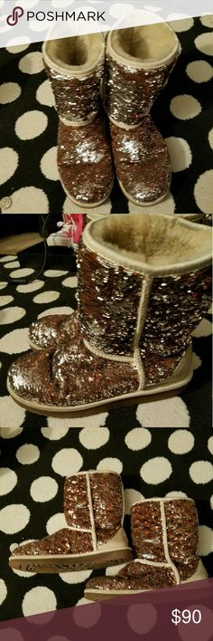 Sequin Ugg Boots Silver and Cognac Sequin Ugg Boots UGG Shoes Winter & Rain Boots