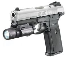 Ruger SR9 Pistol I have a flashlight and laser combo mounted on the bottom like the one you see here.