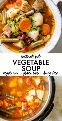 Healthy Instant Pot Vegetable Soup recipe that's full of flavor and ready in under 30 minutes! It's an easy vegetarian dinner or lunch made with potatoes and green beans and the only dish you need is a pressure cooker, so clean up is a breeze recipes Vegetable Soup Healthy, Vegetable Soup Recipes, Healthy Vegetables, Healthy Soup Recipes, Instapot Vegetarian Recipes, Vegetable Soup Crock Pot, Bean And Vegetable Soup, Healthy Meals, Crockpot Recipes