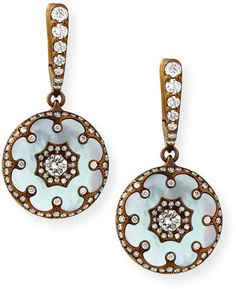 Arunashi Mother-of-Pearl and Diamond Flower Earrings Mother Of Pearl Jewelry, I Love Jewelry, Gold Jewelry, Jewelery, Fine Jewelry, Jewelry Box, Jewelry Design, Flower Earrings, Diamond Earrings