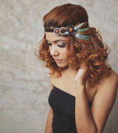 NEW : Indian - Teal, Brown - feather headband, boho headband, hippies… Indian Headband, Boho Headband, Feather Headband, Feather Hair, Feathered Hairstyles, Boho Hairstyles, Hippie Headbands, Estilo Hippy, Diy Hair Accessories