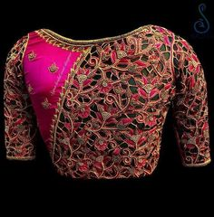 Want heavy bridal blouse to wear with your wedding lehenga/saree? These Chennai Bridal Blouse Designers make extraordinary blouses as per your requirement. Blouse Back Neck Designs, Cutwork Blouse Designs, Designer Blouse Patterns, Fancy Blouse Designs, Bridal Blouse Designs, Cut Work Blouse, Hand Work Blouse Design, Stylish Blouse Design, Blouse Designs Catalogue