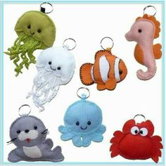 Sea Crafts, Cute Crafts, Crafts To Do, Crafts For Kids, Fabric Animals, Felt Animals, Baby Diy Projects, Sewing Projects, Diy Shrink Plastic Jewelry