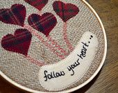 "Heart Hoop Embroidery ""Follow Your Heart"" Hearts, Valentine, burlap and wool, stitchery, Balloons"