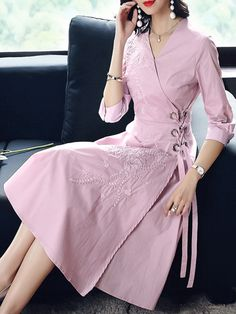 Embroidery Solid Color Sashes Seven-Tenths Sleeves A-Line Dresses with Free Shipping | jollyhers