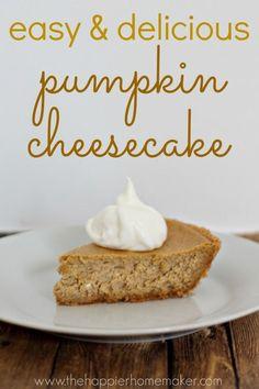easy pumpkin cheesecake. I so love pumpkin cheesecake