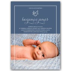 Dove Border Photo Baptism Invitations | PaperStyle
