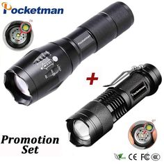 Super Bright LED Q5+T6 LED Flashlight Zoomable Torch For Hiking Promotion Set